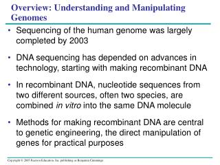 Overview: Understanding and Manipulating Genomes