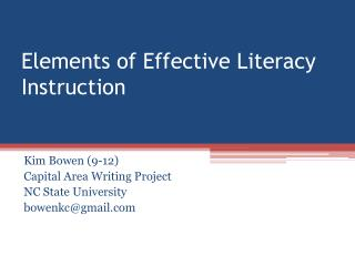 Elements of Effective Literacy Instruction