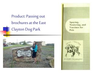 Product: Passing out brochures at the East Clayton Dog Park