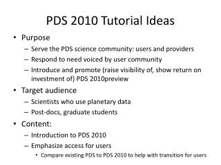 PDS 2010 Tutorial Ideas