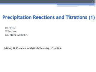 Precipitation Reactions and Titrations (1)