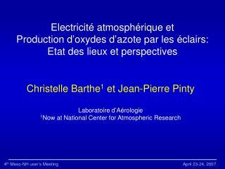 Electricit � atmosph�rique et Production d�oxydes d�azote par les �clairs:
