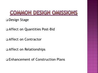 Common Design Omissions