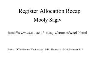 Register Allocation Recap