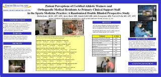 Patient Perceptions of Certified Athletic Trainers and
