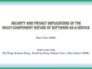 Joint work with  Rui Wang, Kehuan Zhang, XiaoFeng Wang Indiana Univ., Shaz Qadeer MSR