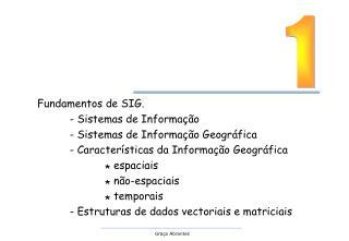 Fundamentos de SIG. - Sistemas de Informação - Sistemas de Informação Geográfica