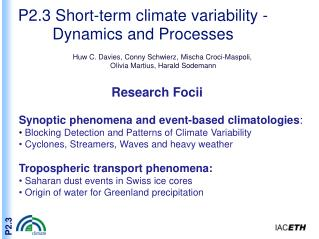 P2.3 Short-term climate variability - Dynamics and Processes