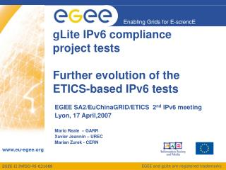 gLite IPv6 compliance project tests  Further evolution of the ETICS-based IPv6 tests