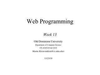 Web Programming Week 13