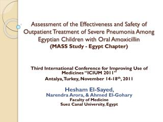 "Third International Conference for Improving Use of Medicines ""ICIUM 2011"""