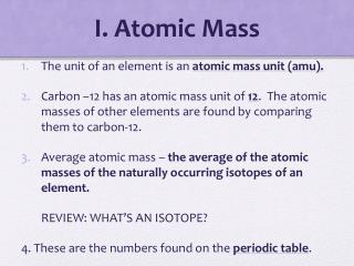 I. Atomic Mass