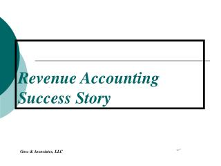 Revenue Accounting  Success Story