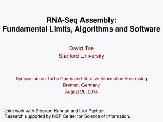 RNA- Seq  Assembly: Fundamental Limits, Algorithms and Software