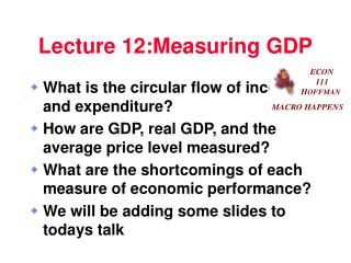 Lecture 12:Measuring GDP