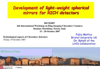 Development of light-weight spherical mirrors for RICH detectors