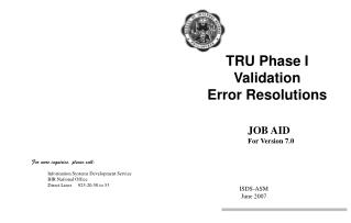 TRU Phase I Validation Error Resolutions