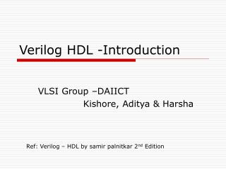 Verilog HDL -Introduction