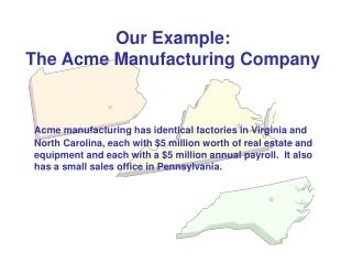Our Example:   The Acme Manufacturing Company