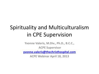 Spirituality and Multiculturalism in CPE Supervision