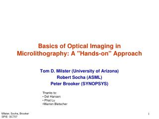 "Basics of Optical Imaging in Microlithography: A ""Hands-on"" Approach"