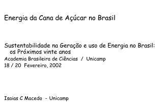 Energia da Cana de Açúcar no Brasil