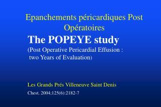 Epanchements péricardiques Post Opératoires