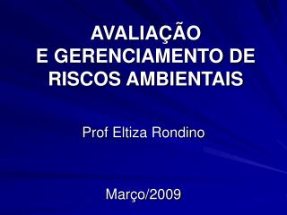 AVALIA��O  E GERENCIAMENTO DE RISCOS AMBIENTAIS