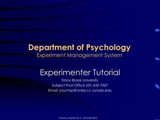 Department of Psychology Experiment Management System