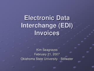Electronic Data Interchange EDI Invoices