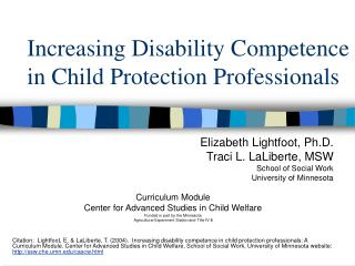 Increasing Disability Competence in Child Protection Professionals