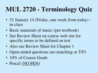 MUL 2720 - Terminology Quiz