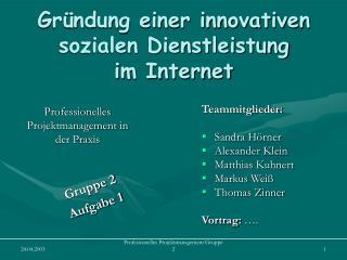 Gr ndung einer innovativen sozialen Dienstleistung  im Internet