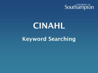 CINAHL Keyword Searching
