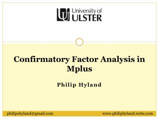 Confirmatory Factor Analysis in Mplus
