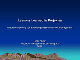 Lessons Learned in Projekten