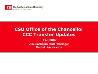 CCC to CSU - The Road to the Degree