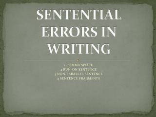SENTENTIAL ERRORS IN WRITING