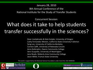 Concurrent Session: What does it take to help students transfer successfully in the sciences?