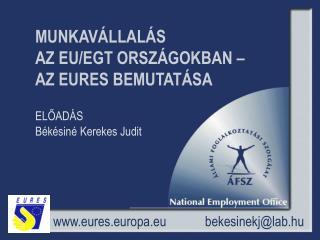 MUNKAVÁLLALÁS AZ EU/EGT ORSZÁGOKBAN –  AZ EURES BEMUTATÁSA ELŐADÁS  Békésiné Kerekes Judit