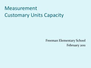 Measurement Customary Units Capacity