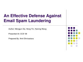 An Effective Defense Against Email Spam Laundering