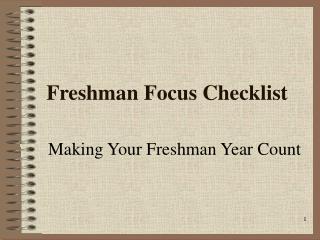 Freshman Focus Checklist