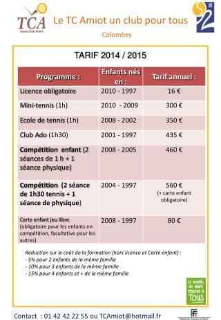 TARIF  2014  /  2015