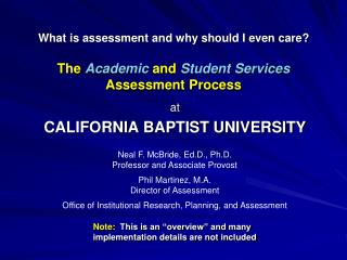 The  Academic  and  Student Services  Assessment Process