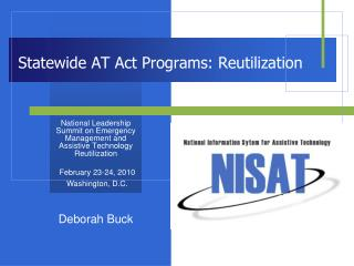 Statewide AT Act Programs: Reutilization