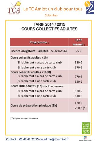 TARIF 2014 / 2015 COURS COLLECTIFS ADULTES