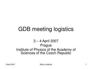 GDB meeting logistics