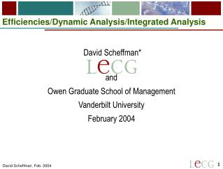 Efficiencies/Dynamic Analysis/Integrated Analysis