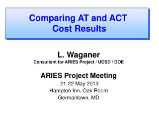 L. Waganer Consultant for ARIES Project / UCSD / DOE ARIES Project Meeting  21-22 May 2013